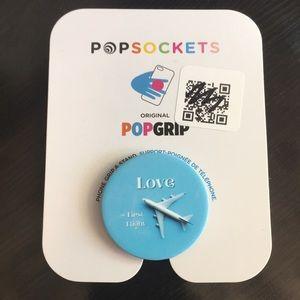 PopSocket Phone Grip White Airplane on Blue